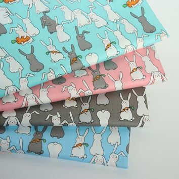 2018 New Rabbit Carrot Printed 100% Cotton Fabric Diy Patchwork Sewing Baby Bedding Textile Decor Quilting Tilda Crafts Tissus