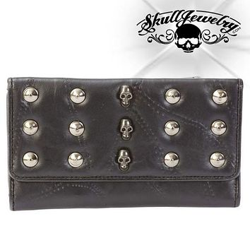 Studded Skulls Lambskin Leather Wallet (wallet027)