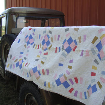 Vintage Quilt or Blanket Primitive Shabby Chic