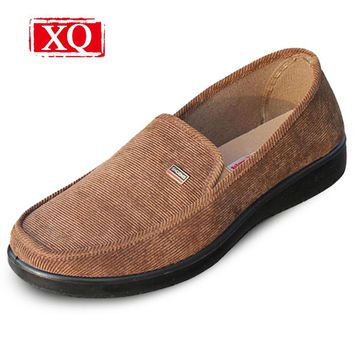 XQ New Men Casual Shoes Old Beijing Cloth Shoes Breathable Comfortable Flat Shoes Driving Wear Non-slip Light Man's Shoes 1215