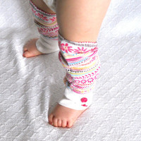 Pink Flower Girl Baby Leg Warmers, Girl Baby Leggings, Baby Boot Socks, Slouch Sock, Footless Sock, Boot Cuff, Ankle Warmer