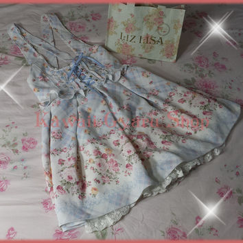 Liz Lisa / LLGals Produce 2014 Rose Floral Gingham Check Jumper Skirt / JSK (NwoT)