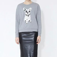 Dog Embroidery Sequins Sweater