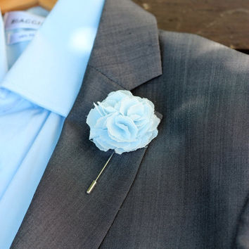 Linen Carnation, baby blue, mens wedding boutonniere, button back pin, hat pin, brooch pin, button back, groomsmen lapel pin
