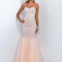 Strapless Sweetheart Blush Prom Dress 11045