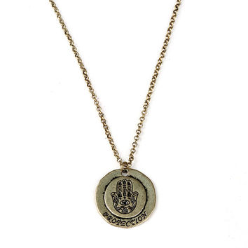 Hamsa Coin Necklace | Necklaces at Pink Ice