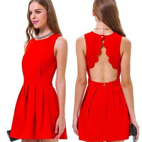 High Quality Women Summer Casual Evening Mini Red Sleeveless Sexy Tropical Slim Novelty Backless Short Party Dress = 1945945476