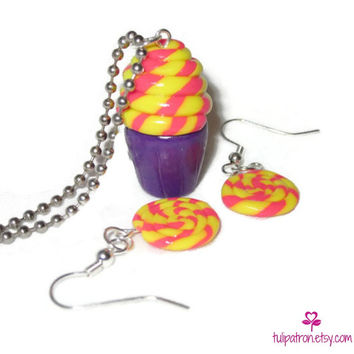 Circus Cupcake Necklace & Lollipop Earring Set - Lollipop Swirl - Pink Yellow Purple Cupcake - Jewelry Set - Polymer Clay