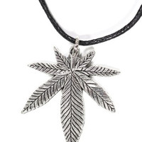 Pot Leaf Necklace Silver Tone Marijuana Weed NO04 Faux Leather Pendant
