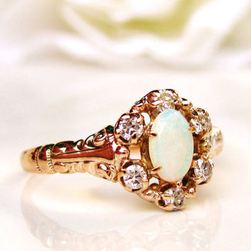 Vintage Opal & Diamond Ring Alternative Engagement Ring 14K Gold Dainty Victorian Style Diamond Wedding Ring October Birthstone Ring!