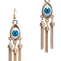 ROMWE | ROMWE Eyes Tassel Pendant Gold Earrings, The Latest Street Fashion