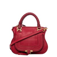 Chloe 'Baby Marcie' Dark Red Leather Crossbody Bag