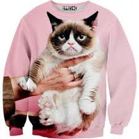 Grumpy Cat Print Sweater