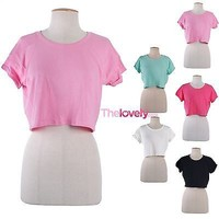 Sexy Solid Round Neck Short Sleeve Basic Cropped Belly Tee Shirt Top Loose Fit
