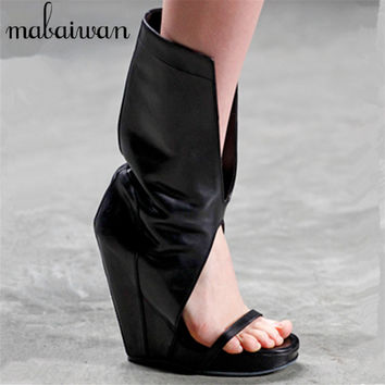 Punk Style Women Gladiator Sandals Black Slip On Summer Boots Platform Pumps Wedge Shoes Woman Wedges Sandalias Mujer