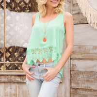 Lacie Crochet Top - Mint