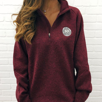 Burgundy Heathered Quarter Zip