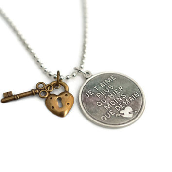 Forever Love Necklace - Je T'Aime French Love Necklace - Je T'aime Fleur De Lis Silver Plated Charm with Key & Lock Necklace with Ball Chain