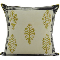 """16"""" Multicolor Floral Print Indian Hand Block Throw Pillow Case"""