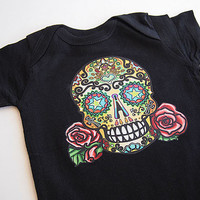 Skull and Roses Tattoo baby clothes.  Trendy girl boy 3 6 12 months baby shower punk rockabilly children bodysuit. Old School Retro top