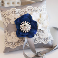Gray & Royal Blue wedding accessory, Victorian Ring Pillow, Ring Pillow attach to dog Collar, Ring Bearer Pillow, Pet wedding accessory