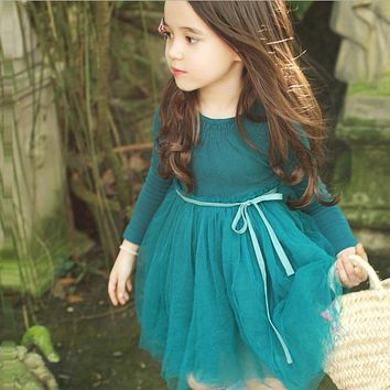 High Quality! New 2017 Girls Long Sleeve Dress Children Lace Dresses Baby Cotton Dress Kids Ball Gown Toddler Basic Dress, 2-10Y
