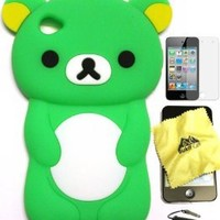Bukit Cell Green bear 3D Cartoon soft silicone skin case cover for IPod Touch 4/4G/4th generation + free screen protector + free METALLIC detachable touch screen STYLUS PEN with Anti dust plug