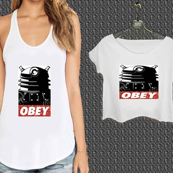 Doctor Who Dallek Obey Style Glitter Sparkly For Woman Tank Top , Man Tank Top / Crop Shirt, Sexy Shirt,Cropped Shirt,Crop Tshirt Women,Crop Shirt Women S, M, L, XL, 2XL*NP*