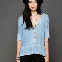 Free People We The Free Ruffled Boyfriend Top