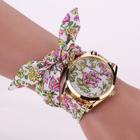 2016 Hot New Geneva Ladies Watch Fabric Fashion Women's Watches Round Analog Girls Women Bracelet Dress Wrist Watch Quartz Watch