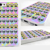 Tie Dye Alien Emoji minions,despicable iPhone 4,4s, 5C, 5S,5, glossy cover Case