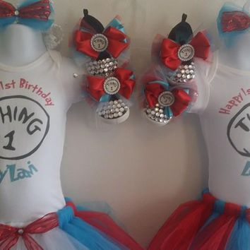 Thing 1 Thing 2 Double Full Birthday Tutu Outfits,