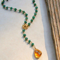 Emerald Rosary Necklace, Bohemian, Wire Wrapped, Boho, Citrine Drop Pendant, Green Stones, Genuine Emeralds, Yellow,  Gold