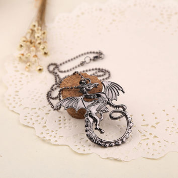 Black Fire Dragon Necklace