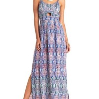 Strappy-Back Cut-Out Tribal Print Maxi Dress - Blue Combo
