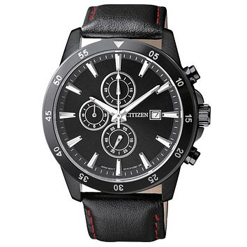 Citizen Quartz Chronograph Mens Watch - All Black Look - Leather - Date Display