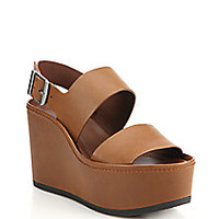 Vince - Idalia Leather Platform Wedge Sandals<br> - Saks Fifth Avenue Mobile
