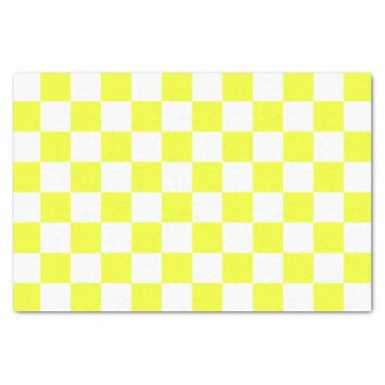 Yellow and White Checkerboard Pattern Tissue Paper