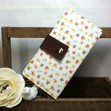 Women's handmade folded wallet in mini floral print brown contrast, bill slots card slots, coin pouch snap closure