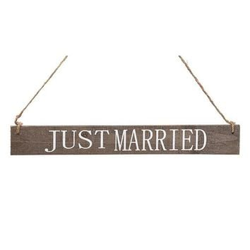 """Just Married"" Wood Hanging Wedding Sign - 15"" Long"