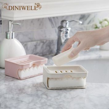 DINIWELL Eco-friendly Plastic Double Layers Drain Soap Dish with Sponge Bathroom Kitchen Bar Shower Soap Sink Holder
