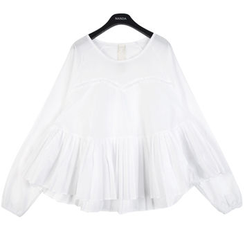Pleated White Blouse with Long Sleeves