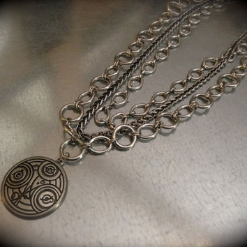 Interpreted Ancient Symbol Triple Chain Necklace