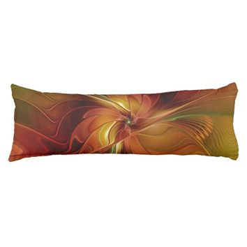 Abstract Red Orange Brown Green Fractal Art Flower Body Pillow