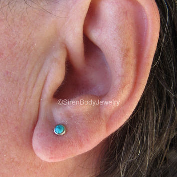 Turquoise helix tragus stud conch piercing earring 16g titanium flat back earrings 4mm gem barbells 8mm hypoallergenic ear jewelry body ring