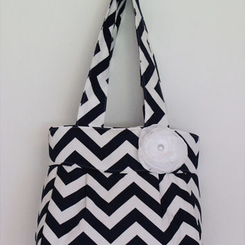 Navy/White Chevron Handbag - Folklore Bag - Purse - Adjustable Crossbody Handbag