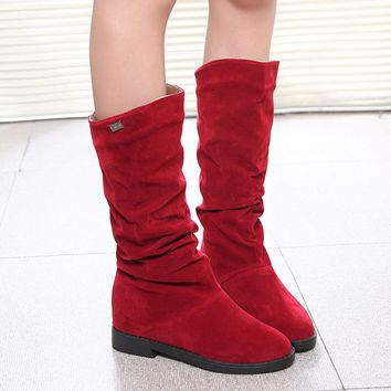 Women's Mid Calf Flock Boots with Low Heel Shoes