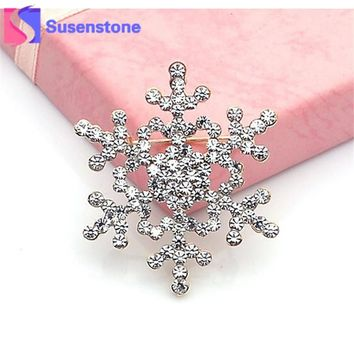 2016 New Fashion Brooch Pin Crystal Rhinestone Large Snowflake Winter snow Theme