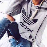 "FLASH SALE Fashion ""Adidas"" Print Hooded Pullover Tops Sweater Sweatshirts- Free Shipping"