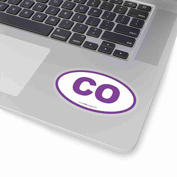 Colorado CO Euro Oval Sticker PURPLE